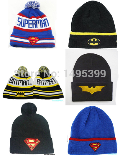 New 2015 batman cartoon knitted hat beanie hat cotton superman caps bboy hip hop cap winter sport woolen hats for men & women