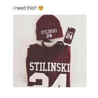 sweater teen wolf stiles stilinski burgundy sweater burgundy hat phone cover