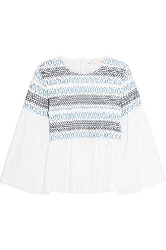 top cotton white blue