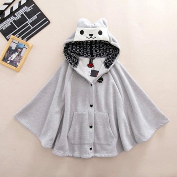 cloak cats animal cardigan winter outfits kawaii cute girly harajuku style fashion jacket coat