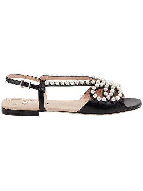 Fendi embellished sandals women pearl embellished abs sandals leather black shoes