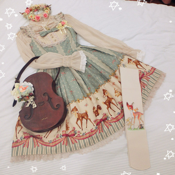deer bag purse violin dress doe socks flower crown underwear