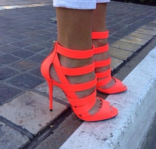 Shoes Neon Orange High Heels