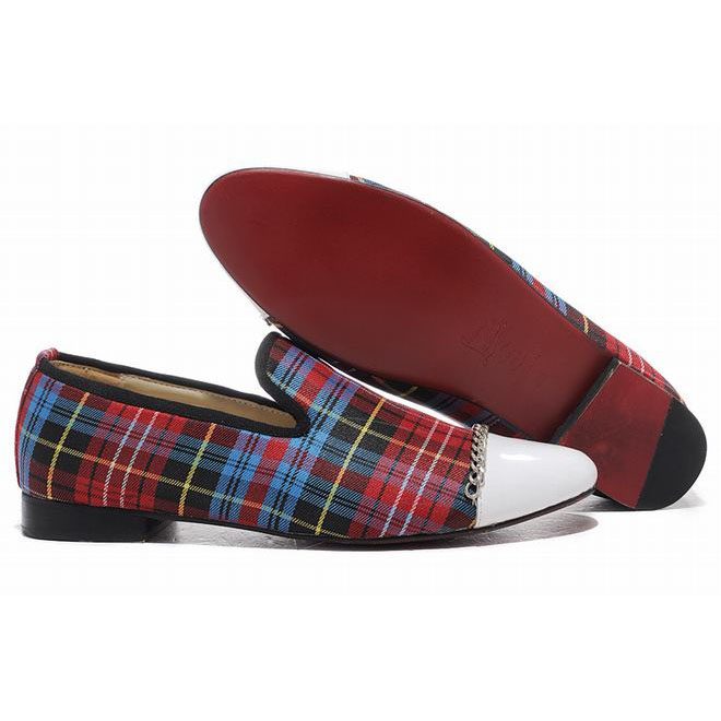 Christian Louboutin Rollergirl Tartan Canvas Womens Flat Shoes Red