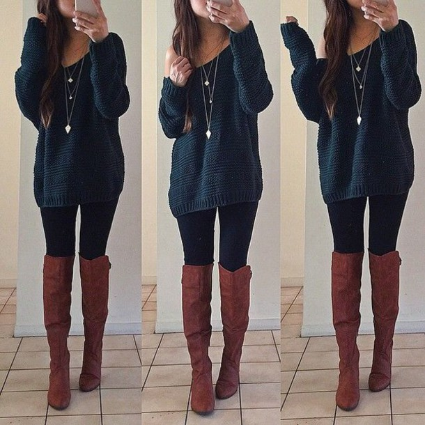 Sweater: jewels, brown leather boots, shoes, tights, bule ...