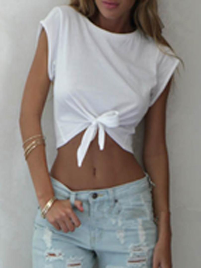 33b1e2025c9 White Tie Front Crop Top - Choies.com