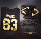 shoes,t-shirt,sweater,chanel boy bag,boy bag,chanel bag,shirt,nike,dunk,gold,black,nike sneakers,quilted,bag,wang,studded shoes,83,spike,chanel,blouse,platform shoes,swag,wang 83,sneakers,black boots,boots,black and gold,purse,shrit,jason derulo