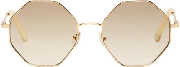 Chloé Chloé Gold and Off-white Hexagon Sunglasses