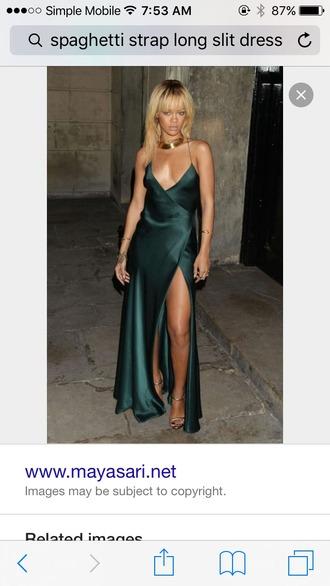 dress emerald green long dress slit dress green dress green rihanna