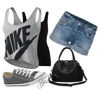 tank top crop tops bag shoes shorts shirt nike outfit gray nike black cropped