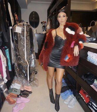 dress mini dress fur jacket kourtney kardashian instagram boots kardashians