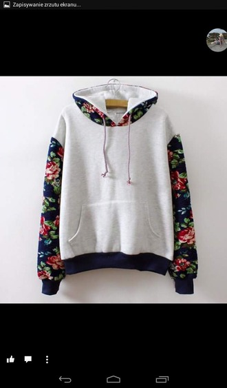 sweater white hoodie flower pattern sleeves