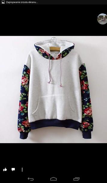 sweater white hoodie flower pattern sleeves sweatshirts floral jacket floral