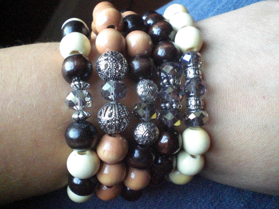 Wood stretch bracelet with grey crystal and by autumnoaksdesigns