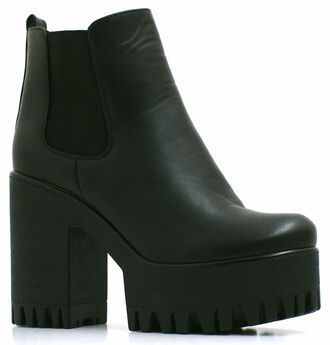 midheel cleated sole chealseaboots black ankle boots