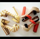 shoes,fashion,yellow,white,high heels,chunky heels,cute,original,instagram,stripes,red