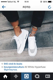 nike,air max,jewels,nike air max 90,look like airforce,jems,cool,swag,hipster,chain,fashion,silver ankle cuffs,white tennis shoes,sneakers,sportswear,shoes,white nikes,nikes,white