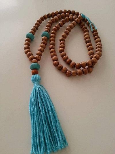 Summer fashion,Blue Yoga Necklace, Mala Yoga Tassel Necklace, Wooden Bead Necklace, Turquoise Stone Beads