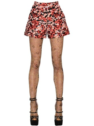 shorts jacquard floral red