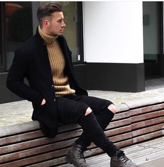 sweater cardigan brown turtleneck menswear mens cardigan mens sweater
