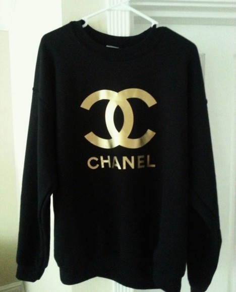 sweater black and white pullover black sweater white sweater simple indie hipster crewneck chanel streetwear