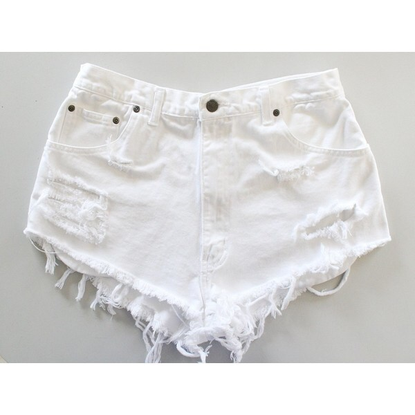 short pants rips ripped high waisted england english highstreet store levi's pockets ripped shorts denim shorts denim white shorts High waisted shorts high street style shorts white levi's