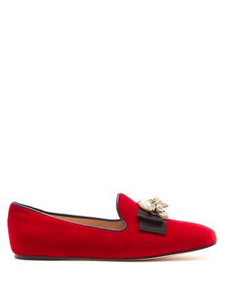 pearl embellished loafers velvet red shoes