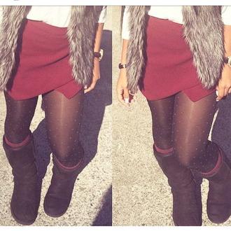 burgundy skirt socks stockings ugg boots
