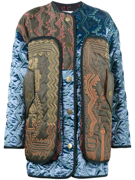 Peter Pilotto - oversized patchwork quilted satin jacket - women - Viscose/Silk/Cotton - S, Blue, Viscose/Silk/Cotton