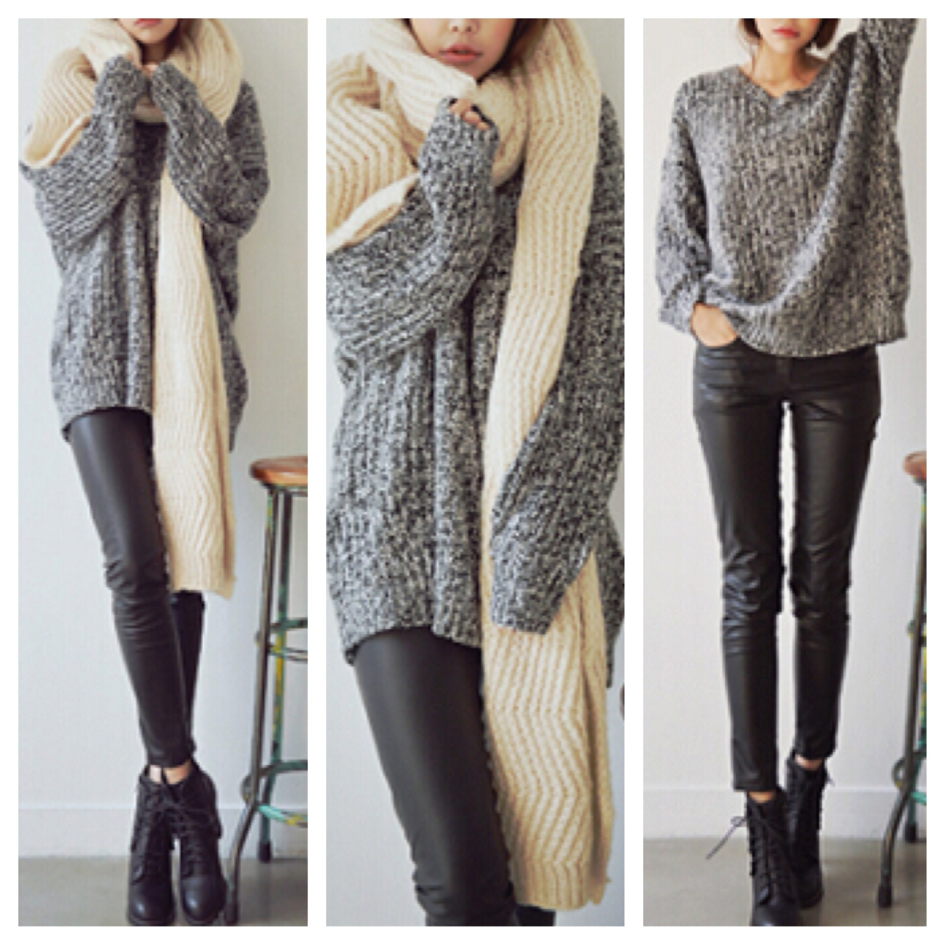 Grey sweater oversized knit pullover top from DoubleLW on ...