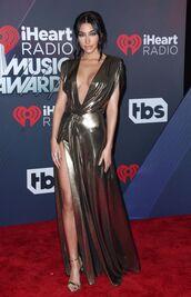 dress,chantel jeffries,metallic,metallic dress,sandals,plunge v neck,plunge dress,iheartradio,red carpet,gown,gold