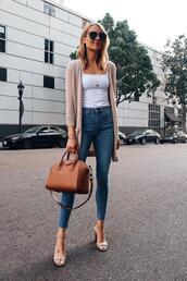 fashionjackson,blogger,cardigan,jeans,bag,shoes,sunglasses,jewels,givenchy bag,handbag,sandals,skinny jeans