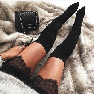 shoes chanel thigh high boots boots black heels high heels lace shorts