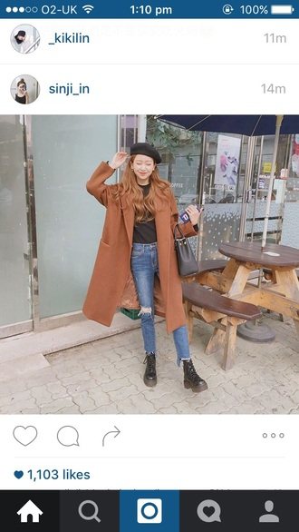 coat brown beige jeans casual basic beret hat korean fashion korean coat