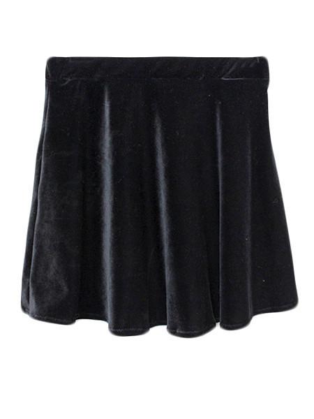 Black velvet skater skirt