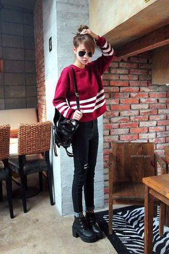 sweater red college sporty oversized short nice cool korean fashion kstyle kpop korean style cheerleading white