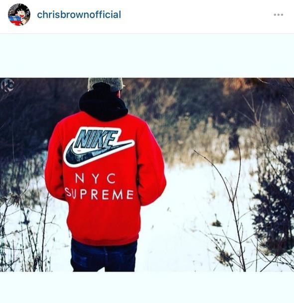 Coat Nike Chris Brown Red Swag Dope Supreme Nyx Instagram Jacket