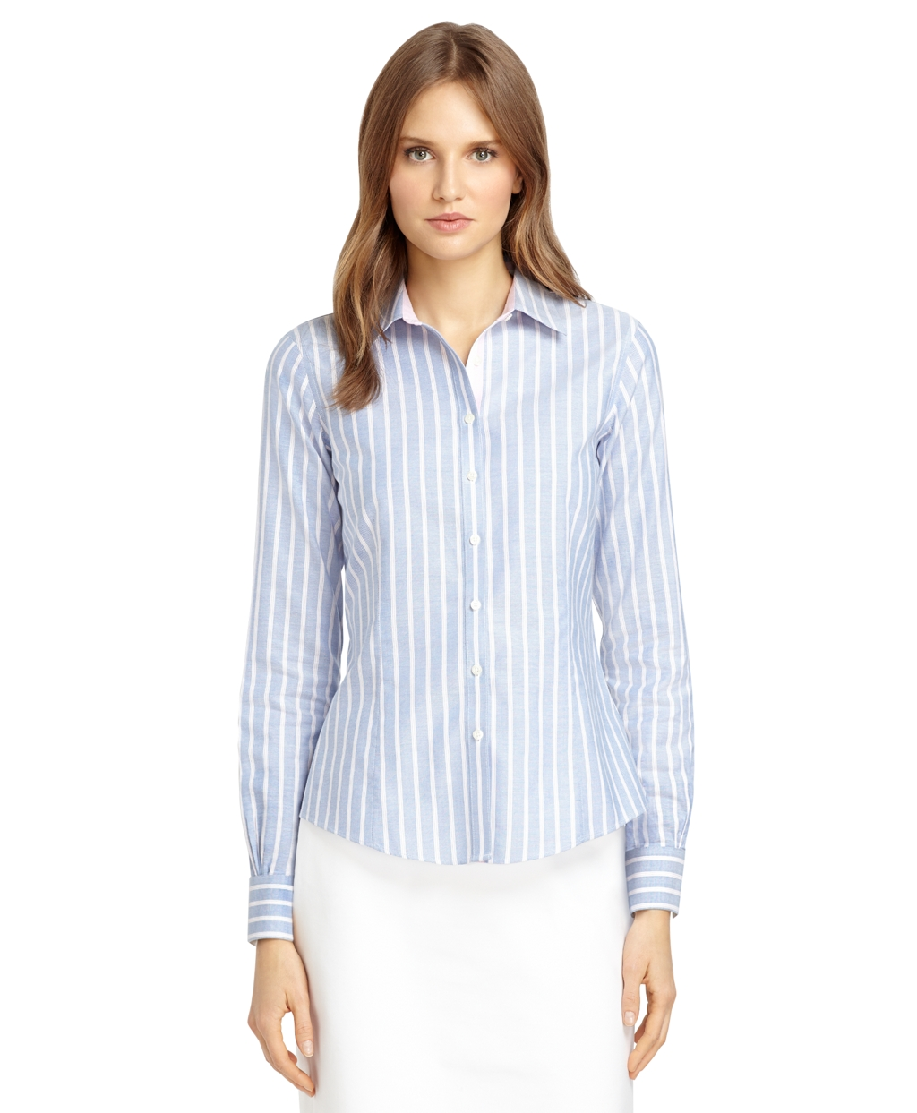 Iron tailored fit supima® cotton double framed stripe dress shirt