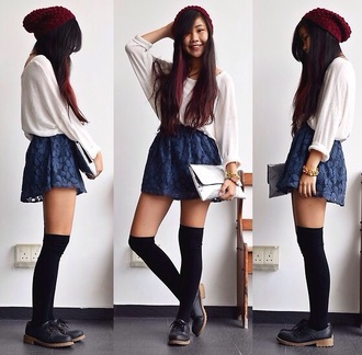 knee high socks long sleeves hipster style shoes socks long socks blouse blue skirt skirt fashion floral skirt lace up lace beige sweater pullover beanie hipster skirt hipster sweater tumblr outfit outfit tumblr sweater tumblr shoes tumblr skirt tumblr girly urban chic clothes beautymanifesto