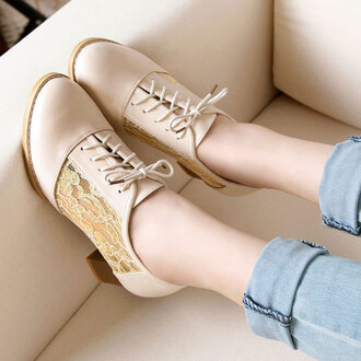 shoes low heel sweet lace up block heel