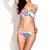 Neon Palm Print Bandeau Pearl Decos Bikini Set | Emprada