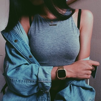 top high neck grey top denim jacket hipster watch jewels