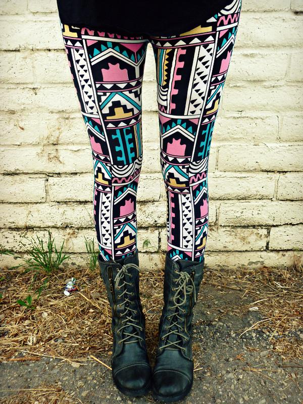 Pants leggings clothes aztec combat boots shoes - Wheretoget