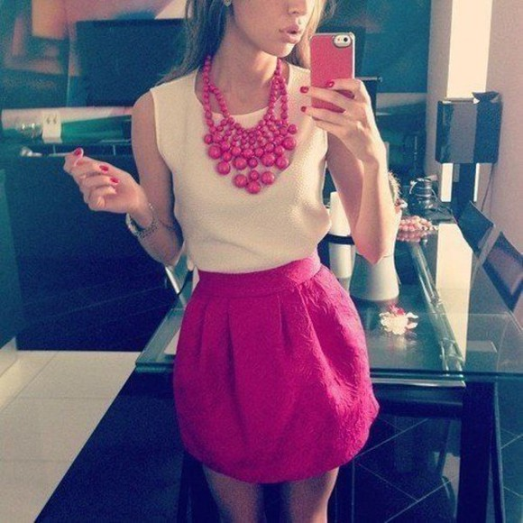 skirt blake lively leighton meester tank top shirt blouse pink pink skirt necklace iphone cover iphone case girly