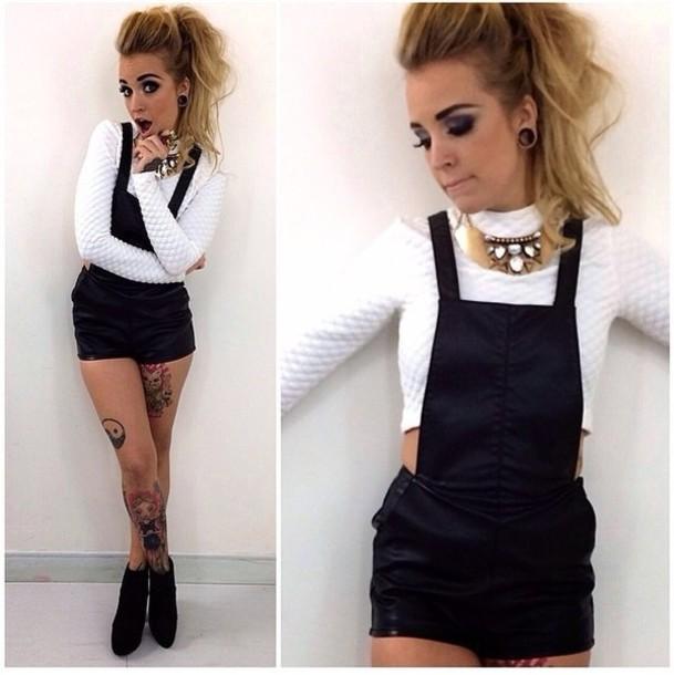 shorts romper dress black shirt