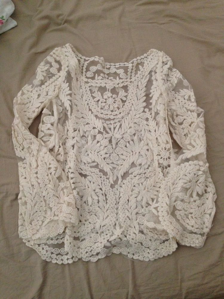 White Lace Top Spitzentop Blogger Gr.S / M | eBay