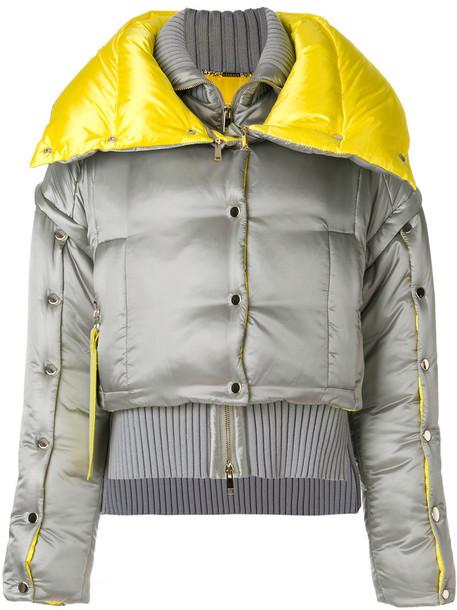 VERSACE jacket puffer jacket women embellished wool grey