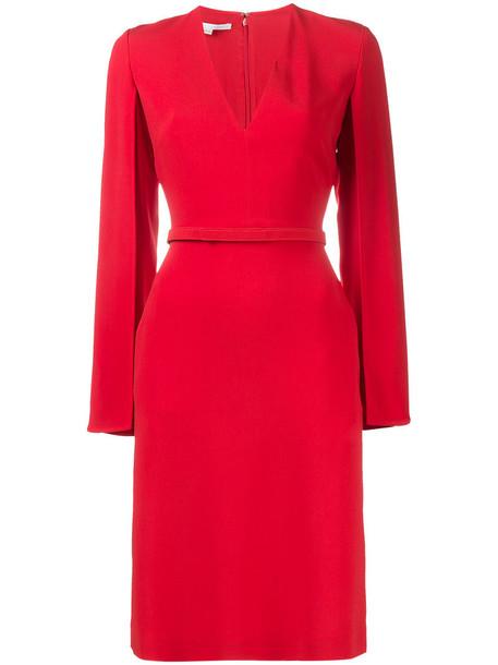 dress midi dress women midi spandex v neck silk red
