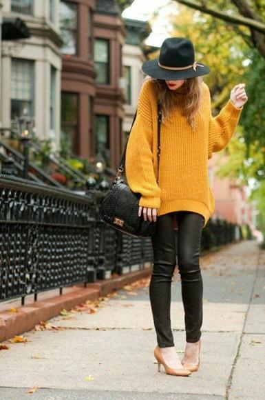 hat sweater yellow fall sweater fall outfits lemongrass