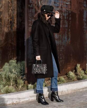 coat tumblr black coat long coat denim jeans blue jeans boots black boots high heels boots ankle boots bag black bag hat black hat fisherman cap